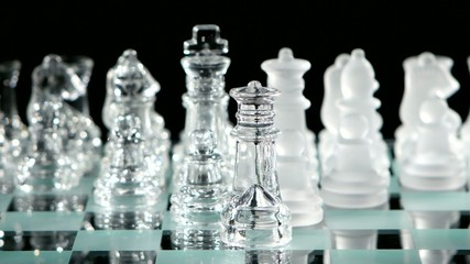 4K. Glass chess on chessboard