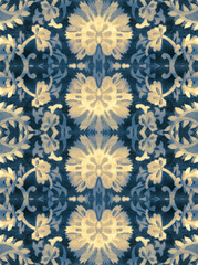 .The ornament of the pieces of fabric with a pattern