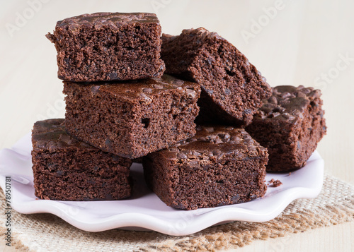 Foto op Canvas Bakkerij Delicious Chocolate Brownies