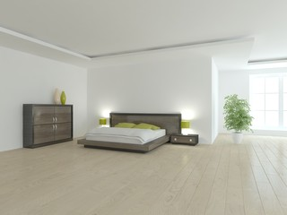 white bedroom interior-3d rendering