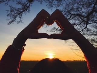 Herz vor Sonnenuntergang
