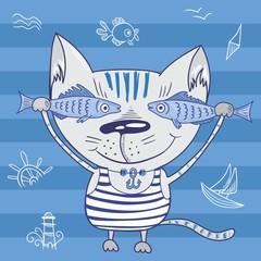 Sea cat illustration