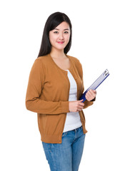 Asian woman hold with file pad