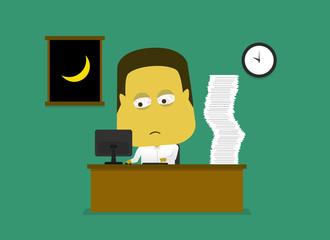Employee work overtime an sleepy