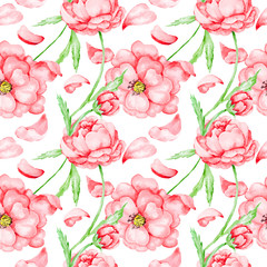 Passion pattern with red flowers