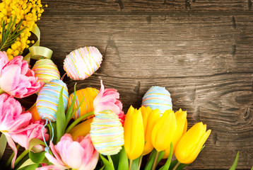 Easter background. Beautiful Easter holiday backdrop frame