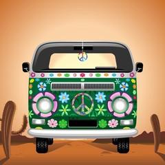 Hippie Groovy Van Traveling on the Desert