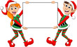 Cute two Christmas elf holding a blank sign - 78954152