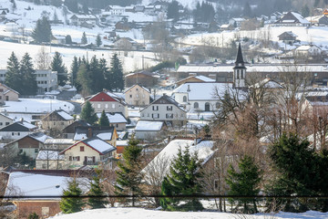 panoramic view of one french montain village