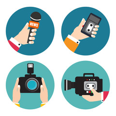 Set of icons with hands holding voice recorders, microphones, ca