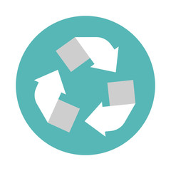 Recycling center icon. Flat style icon Circle arrows. Vector ill