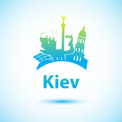 Vector silhouette of Kiev. City skyline