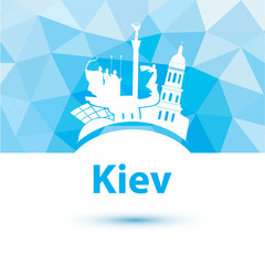 Silhouette of Kiev. City skyline on polygonal background