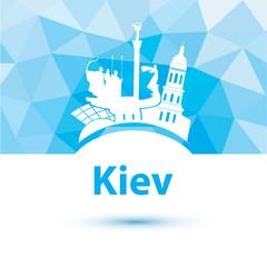 Silhouette of Kiev. City skyline on polygonal background