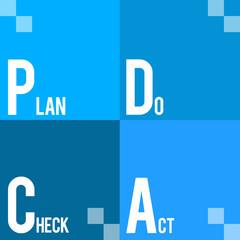 PDCA - Plan Do Check Act Four Blue Blocks