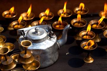Candles at Swayambhunath Temple in Kathmandu