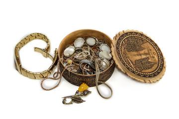 wristwatch and casket with jewelery