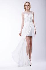 Romantic Bride in Festive Bridal Dress