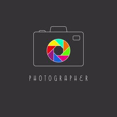 Camera logo, colored aperture of the camera lens icon