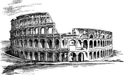 Vintage Illustration Rome Coliseum