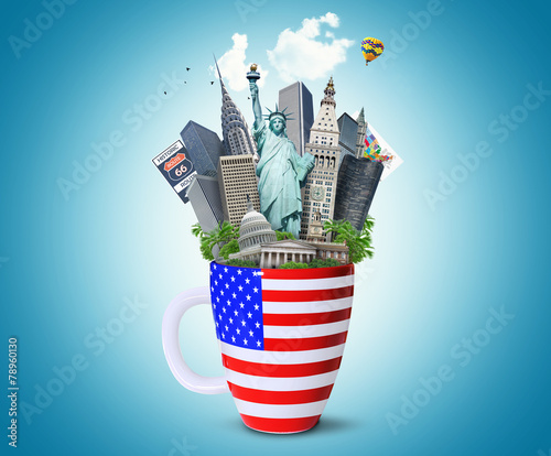 Fototapeta USA, landmarks of the USA in the Cup with the American flag