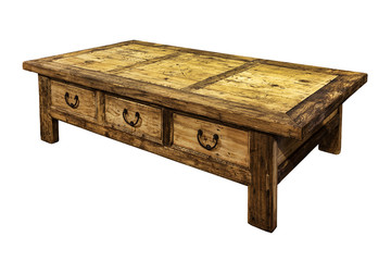 Wooden coffee table isolated on white.