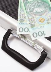 Polish banknotes lying on suitcase