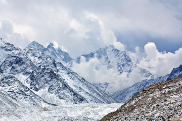 Khumbu Glacier and mountain landscape in Sagarmatha, Nepal