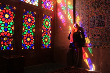 girl in beautiful colored room