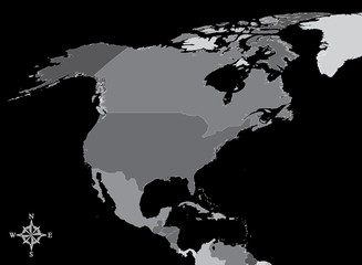 North America Map - Vector Map of North America with north arrow