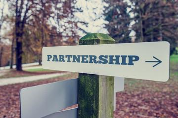 Retro image of Partnership signboard