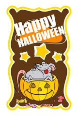 Funny Rat with Halloween Pumpkin Basket