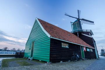 old dutch wooden windmill