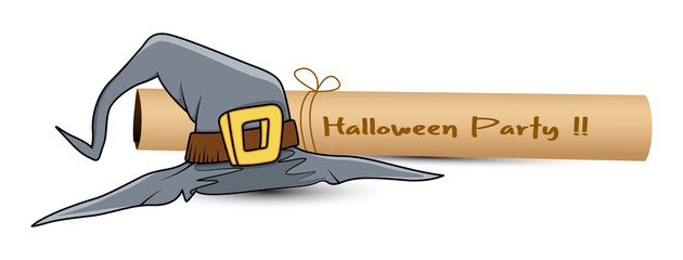 Halloween Witch Hat with Paper Scroll Vector