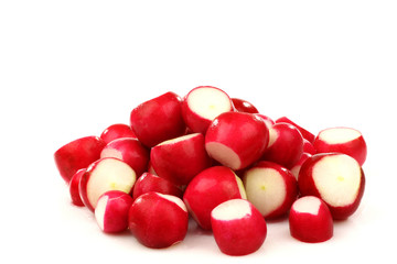 prepared red radishes on a white background