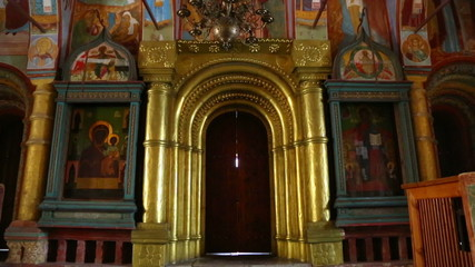 interior of the temple with ancient paintings in Rostov Veliky