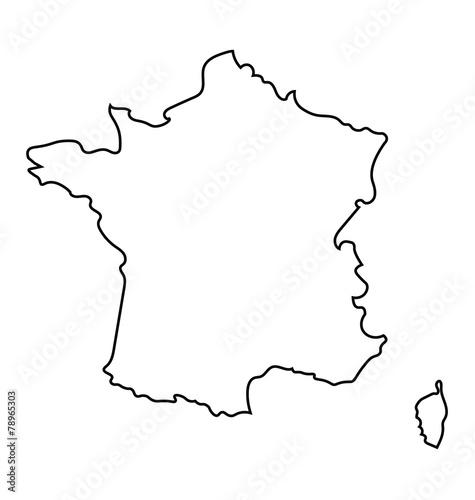 czarno-biała abstrakcyjna mapa Francji