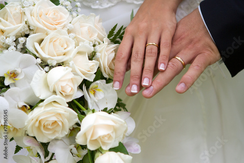 Poster, Tablou Hands, rings and bouquet