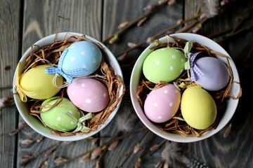 Пасхальные яйца и веточки вербы