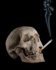 Dead human smoking skull