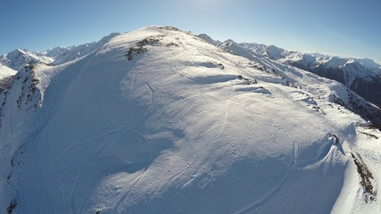 Ski area in Thyon 4 Valley, Swiss Alps - aerial view
