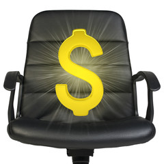 Glow golden dollar on chair