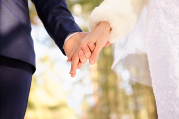 Just married couple holding hands outdoors