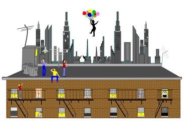 man floating over city with balloons