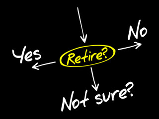 The risk to take the retirement, decide diagram business concept