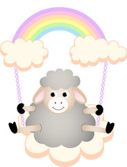 Sheep in swing cloud rainbow