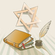 old books a feather and star of David