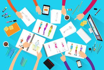 fashion designer creative team looking models photograph flat