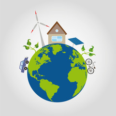 on a green planet earth with blue oceans is a comfortable house