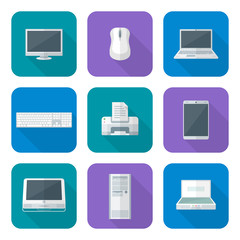 colored computer gadgets icons flat.